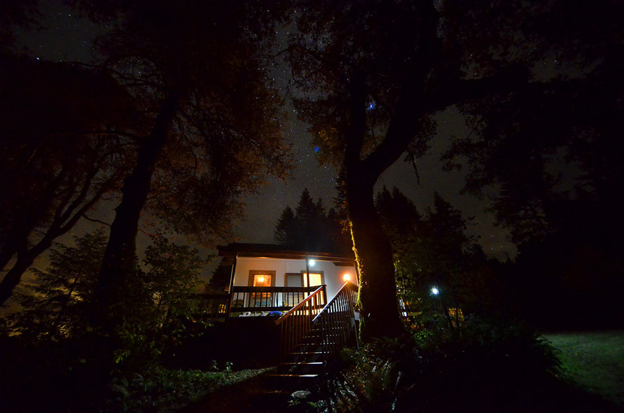 A small forest service cabin that can be rented by the night, on the cheap.