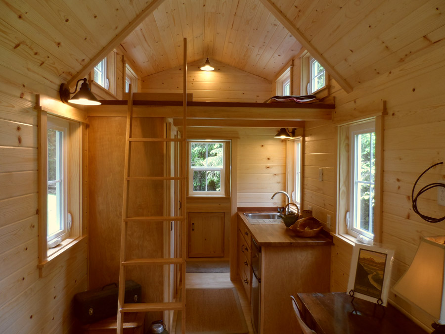 Tiny House With Loft built in pantry storage in tiny house kitchen Ynez Tiny House The
