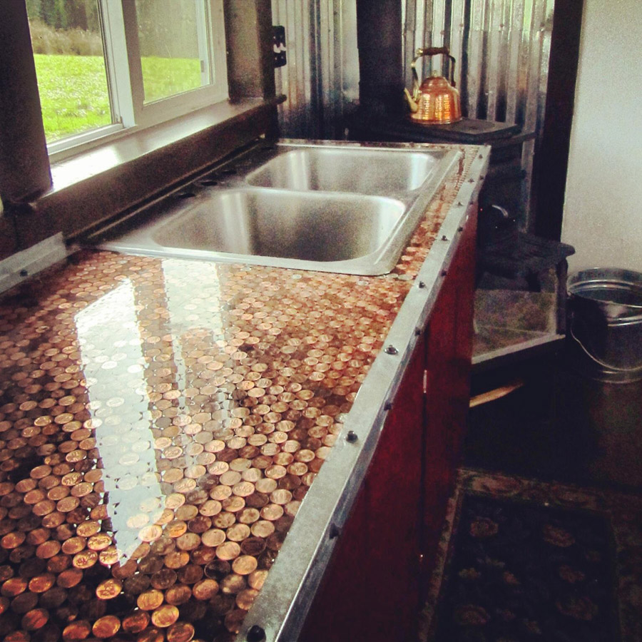 Chateau de reves tiny house swoon for Copper penny bar top