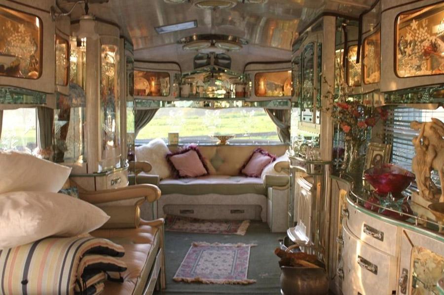 Romany Rose Gypsy Caravan on Inside Cob House