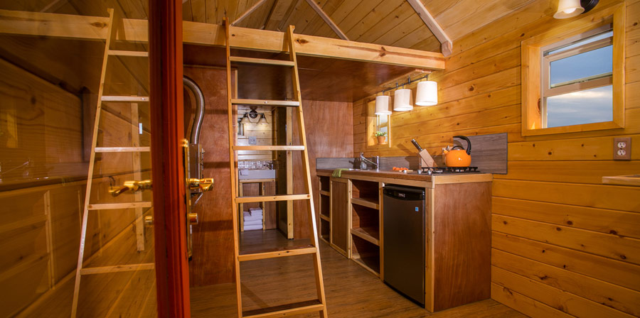 Monarch Tiny House's kitchen and living area