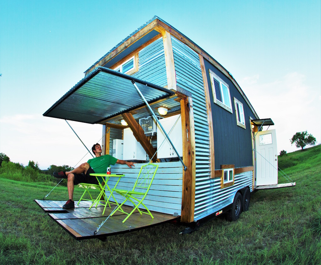 A 200 square feet tiny house on wheels (loft included) in Austin, Texas. Built by Raw Creative Design