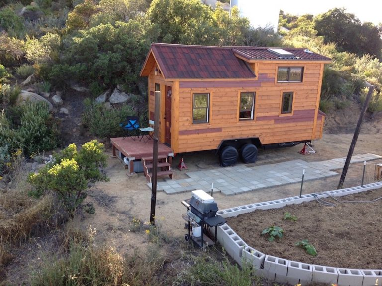 Eddie built his tiny house with very high-end, natural materials in California.